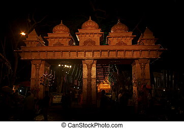 Jain temple gate - A beautiful temple gate at night