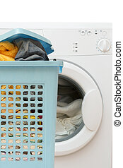 Basket full of clothes and clothes washer - Blue plastic...