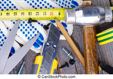 Work Tools - Heap of Work Tools with Hammer, Measuring Tape,...