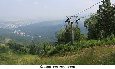 Ski chairlift on Mount Tserkovka in Belokurikha. Altai Krai....