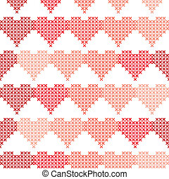Seamless pattern with embroidered hearts