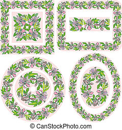 Set of different patterns and borders - square, rectangular, round, oval frames - with hand drawn orchid flowers.