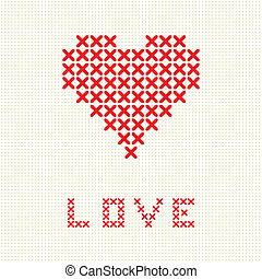 Valentine`s card with embroider heart