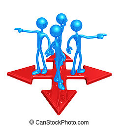 At The Crossroads Pointing Different Directions - 3D Concept...