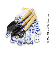 Gardening Tools And Cotton Gloves On White Background