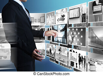 Reaching images streaming - businessmen and Reaching images...