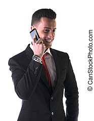 Good looking businessman talking on cell phone - Attractive...