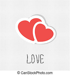 Two paper hearts. Vector card with place for text.