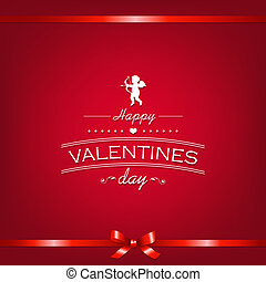 Happy Valentines Day Card With Ribbon, With Gradient Mesh,...