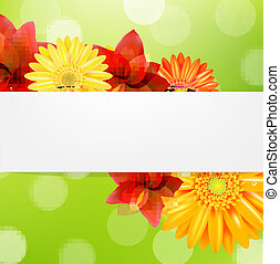Red Flowers Card, With Gradient Mesh, Vector Illustration
