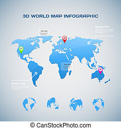 World map infographic with Globe icons - 3D World map...