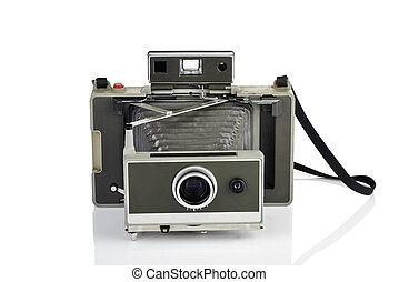 Vintage instant camera on white - Vintage instant camera and...