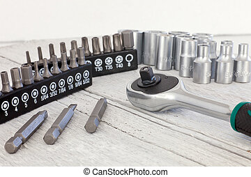Socket set with a socket spanner or wrench - Closeup view of...