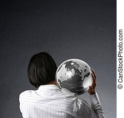 tierra, globo, el suyo, Manos