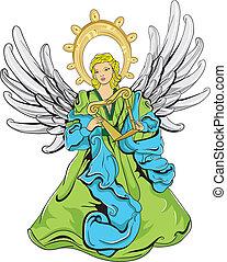 緑, 青, 天使, 翼, ハープ