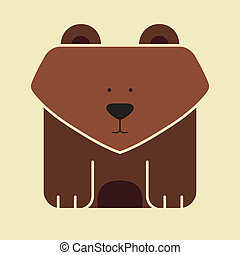 Flat square icon of a cute bear