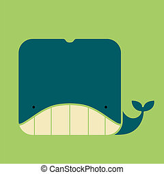 Flat square icon of a cute whale