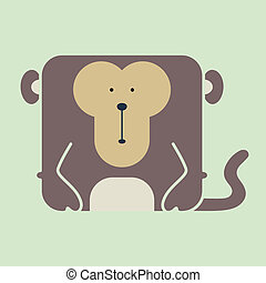 Flat square icon of a cute monkey