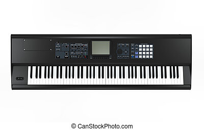 Black Synthesizer isolated on white background. 3D render