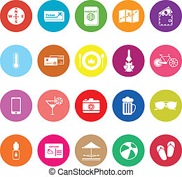 Journey flat icons on white background, stock vector