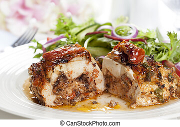 Stuffed Chicken Breast with Salad - Stuffed chicken breast...