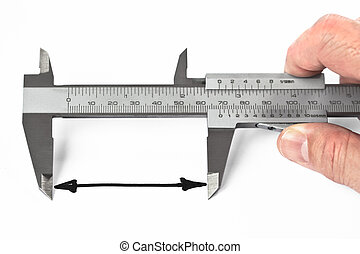 Measurement With Caliper - Man measuring distance with...
