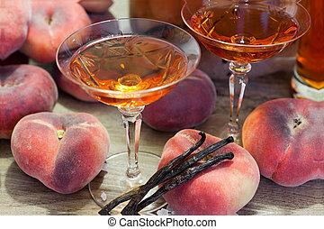 Close up view of homemade fruit liqueur - Homemade fruit...
