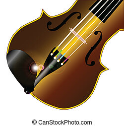 Fiddle Closeup - A typical violinor fiddle isolated over a...
