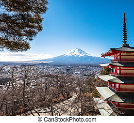 Mt Fuji viewed from behind Chureito Pagoda