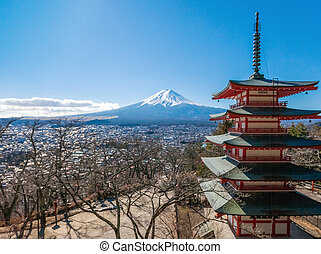 Mt. Fuji viewed from behind Chureito Pagoda.