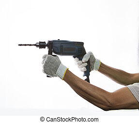 electric drilling in worker hand prepar to drilling on...