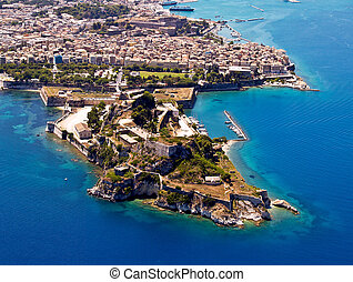 Old fortress of Corfu town, aerial view