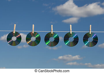 Five CDs On A Clotheslines - Five CDs on a clothesline...