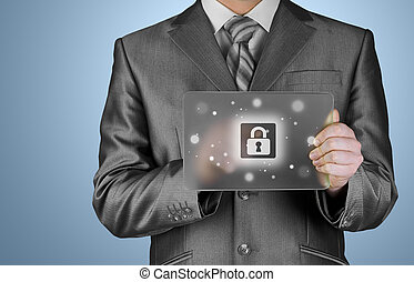 Businessman pushing virtual security button