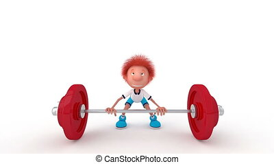 The 3D little boy with a bar - The young athlete is engaged...