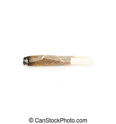 Used cigarette rolling isolated over white background