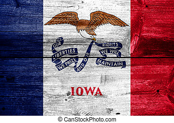Iowa State Flag painted on old wood plank texture