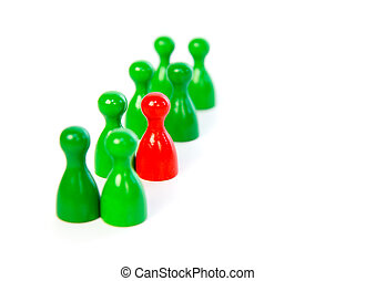 Red pawn in a line-up of green pawns