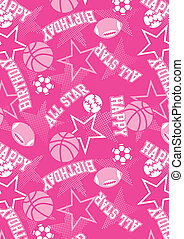 All-star Happy Birthday. Illustrator swatch of repeat...