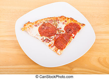 Slice of Pepperoni Pizza on White Plate