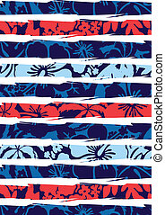 Beach hibiscus and stripes. Illustrator swatch of repeat...
