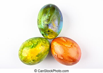 Three Eggs In Pastel Colors - Three Easter eggs in pastel...