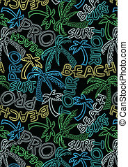 Beach Tour Surf Pro text repeat pattern. Illustrator swatch...