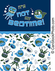 Bedtime creatures Illustrator swatch of repeat pattern...
