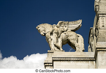 Flying Horse - A tone flygin horse on top of Milano Central...