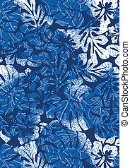 Hibiscus and palm pattern Illustrator swatch of repeat...