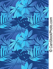 Blue tropical leaves in repeat pattern.