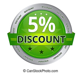 5 percent Discount - Green 5 percent Discount icon on white...