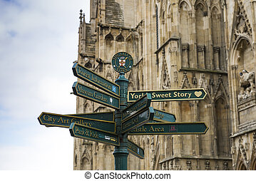 York directions post - Directions post in York, UK, with...