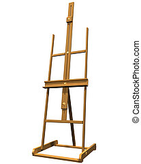 Artist easel - Isolated illustration of a wooden artist...